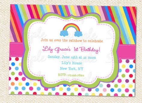 Rainbow Birthday Party Invitations Rainbow birthday parties
