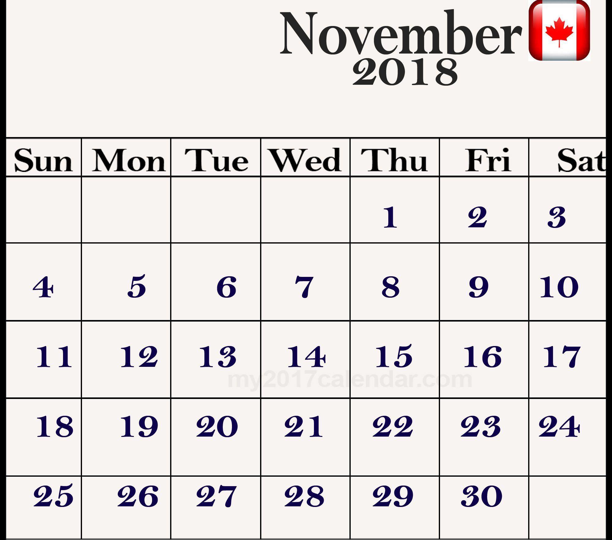 november 2018 calendar canada holidays