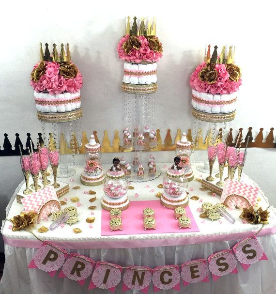 Princess Baby Shower Candy Buffet Centerpiece With Baby Shower Favors / Girls PINK And GOLD Baby