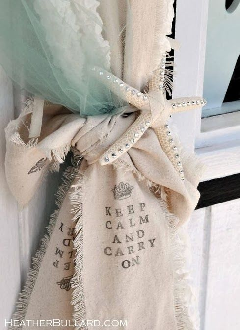 Keep Calm And Carry On Stenciled Burlap Ribbon