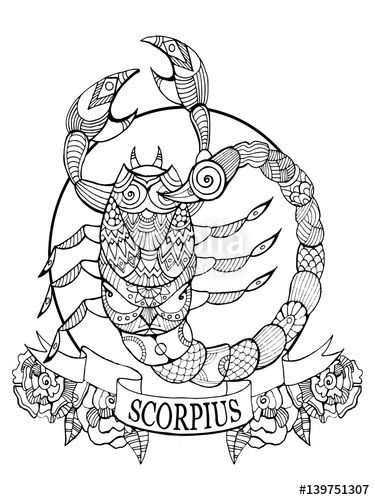 Scorpio zodiac sign coloring book page for adults