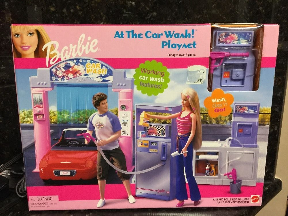 Rare New Barbie Doll At The Car Wash Gas Station Playset Last One