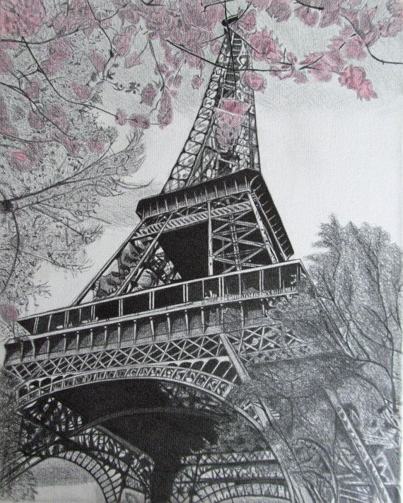 how to draw eiffel tower on paper