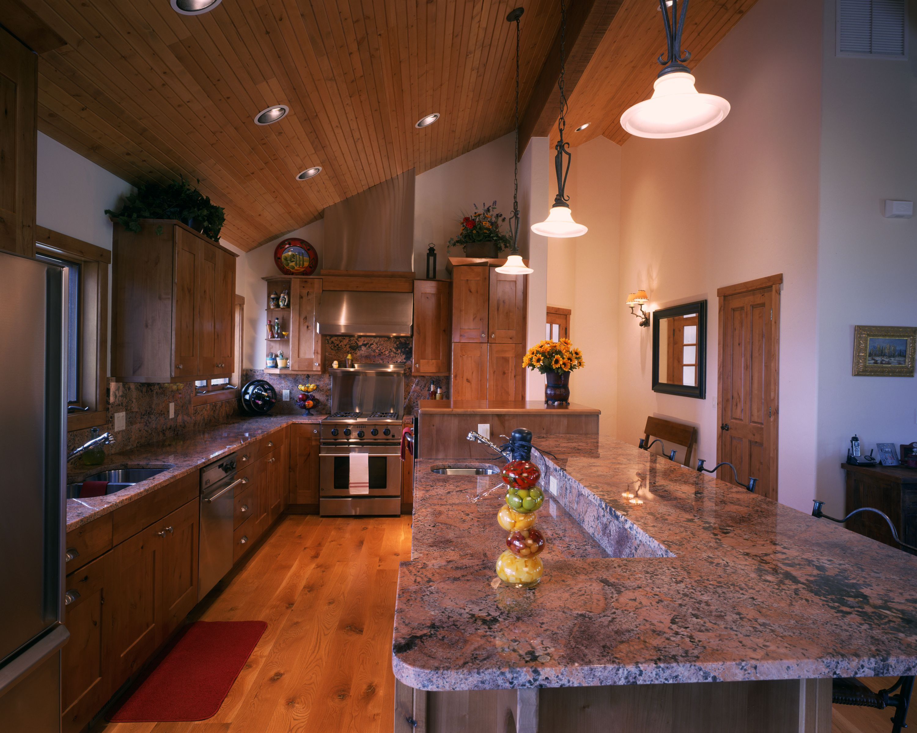 Tongue And Groove Pine Ceiling; 6 Inch Rustic White Oak Flooring; Knotty  Alder Cabinets. Monogram AppliancesStainless ...