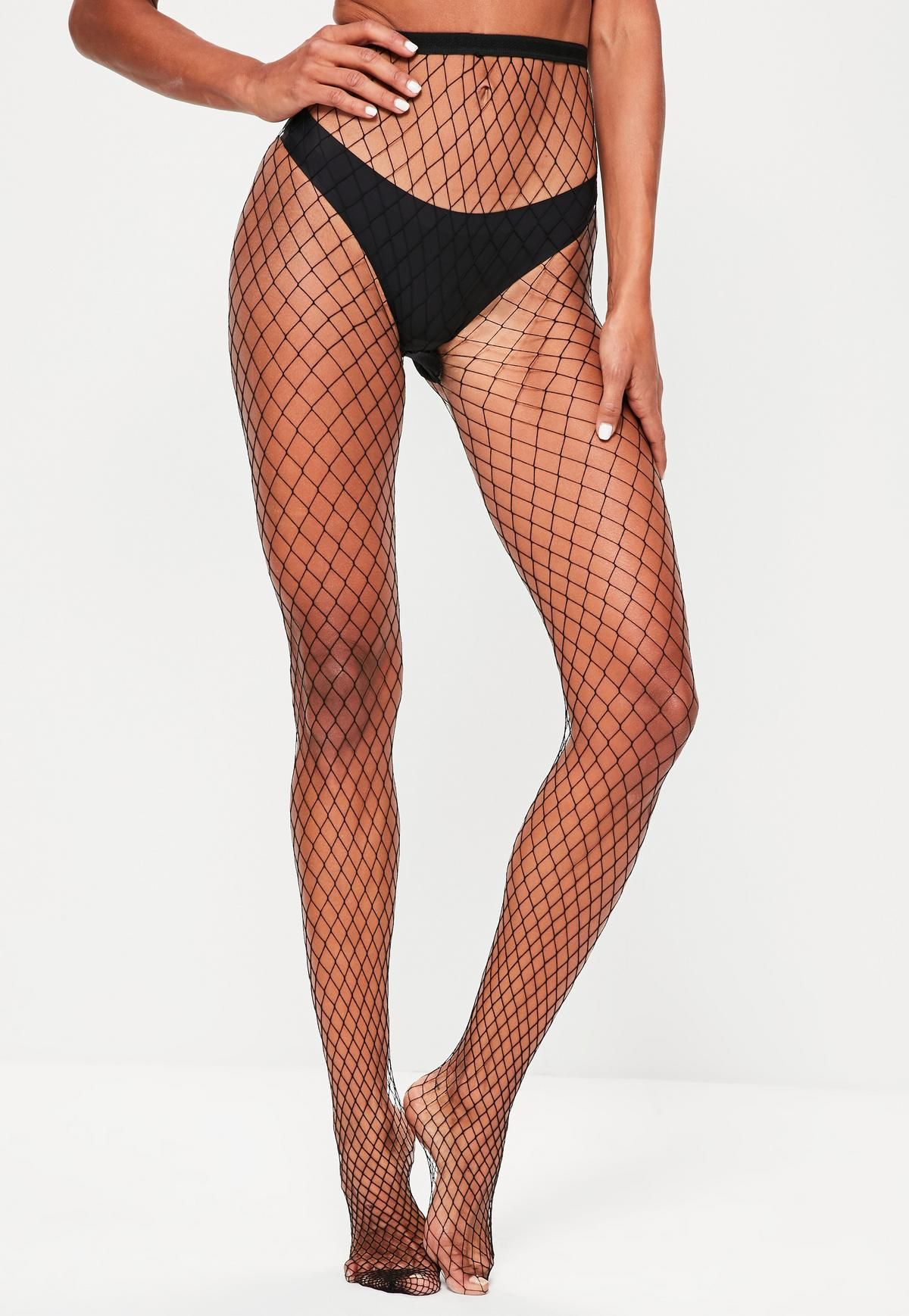 19ff3fa0babd68 Missguided - Black Oversized High Waist Fishnet Tights | Shopping ...