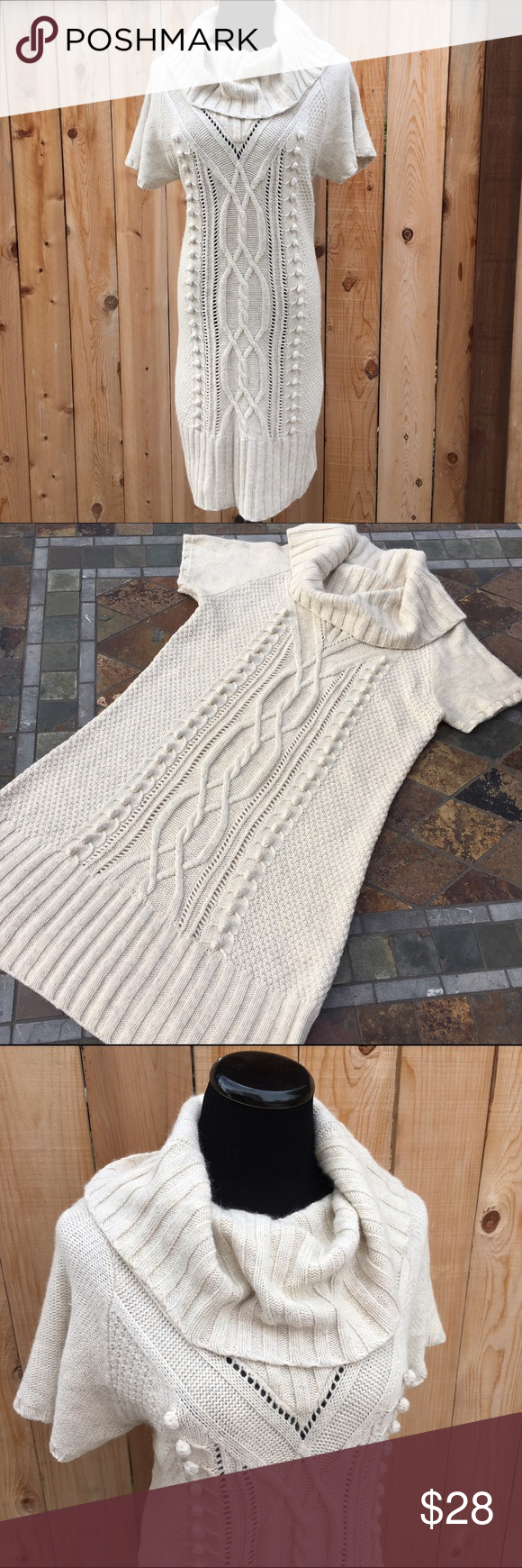 """Knit Cowl Neck Sweater Dress Knit dress is a cream color. Soft material content is 35% Cotton, 25% Viscose, 15% Polyamide, 15% Wool & 10% Angora. Measures 19.5"""" pit to pit & 40"""" long. In excellent condition with no spots or damage. H&M Dresses"""