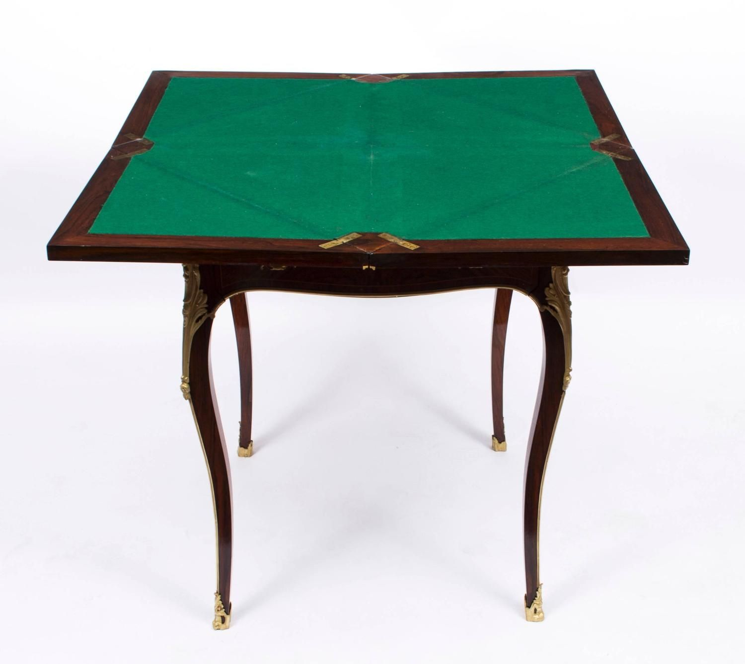 19th Century Victorian Rosewood And Ormolu Envelope Card Table Modern Game Tables Bars For Home Table Furniture
