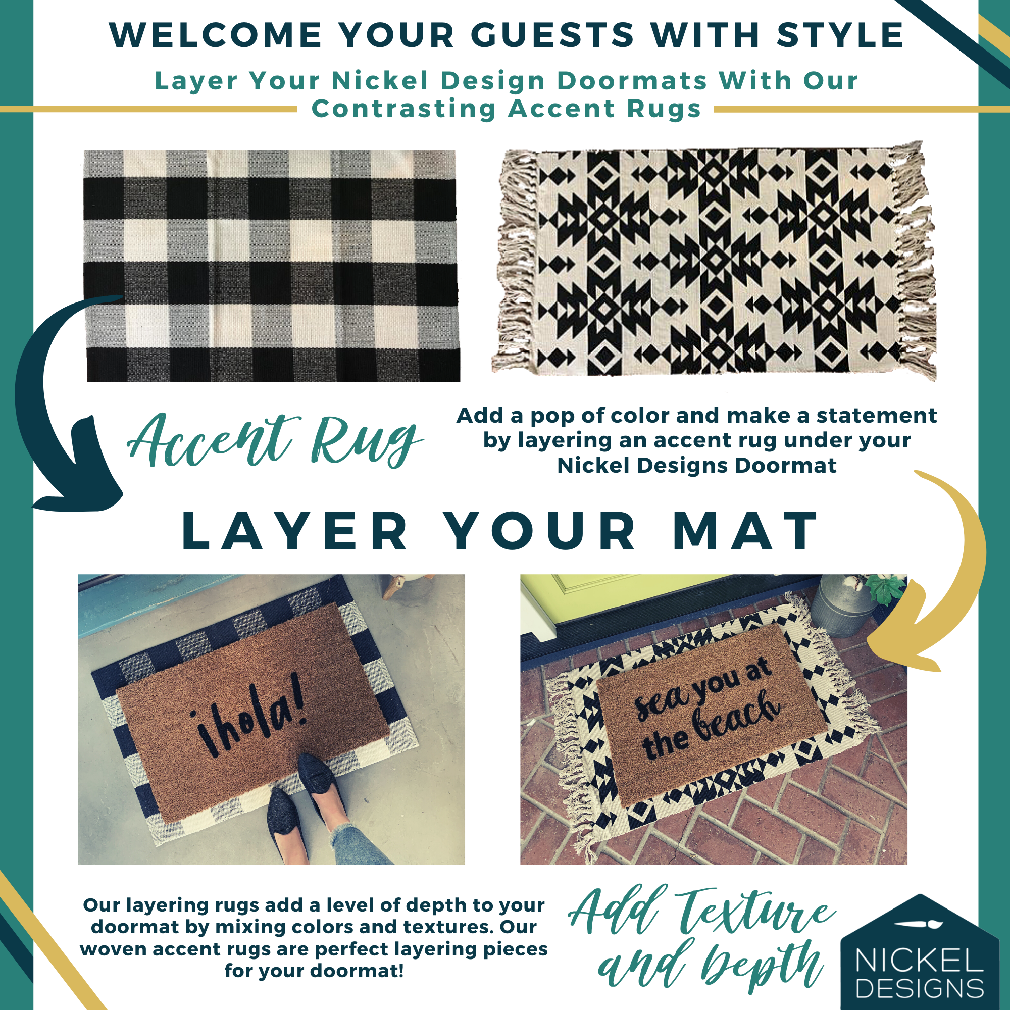 How To Layer Your Doormat In 2020 Layered Rugs Door Mat Newlywed Gifts