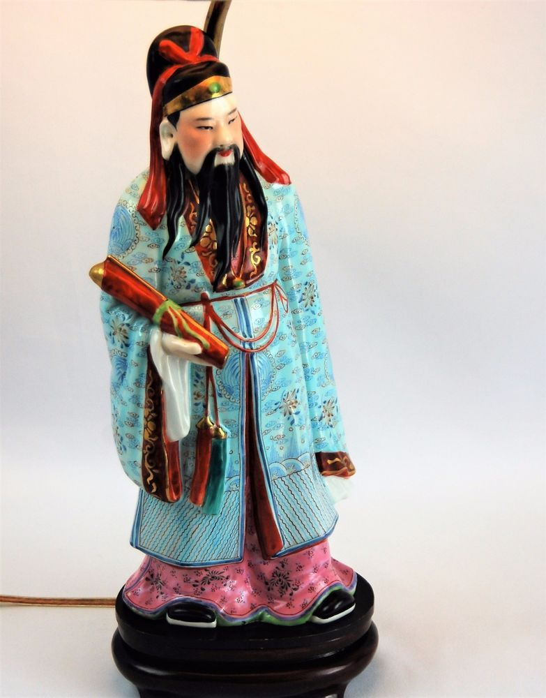 Famille Rose Lu Star Chinese God Table Lamp