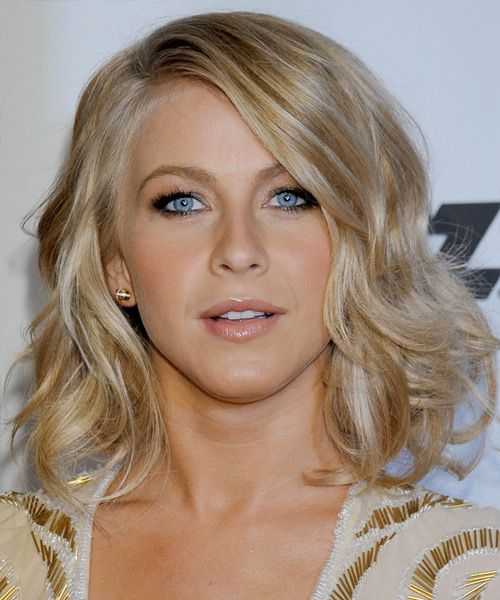 Julianne Hough Medium Wavy Golden Blonde Hairstyle With