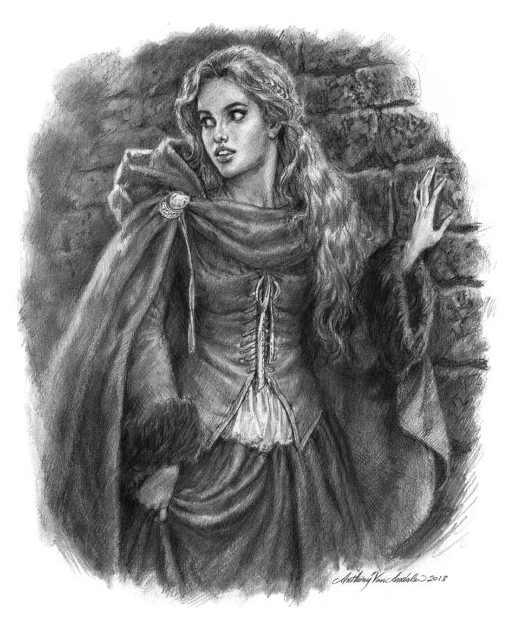 Medieval Maiden Drawing