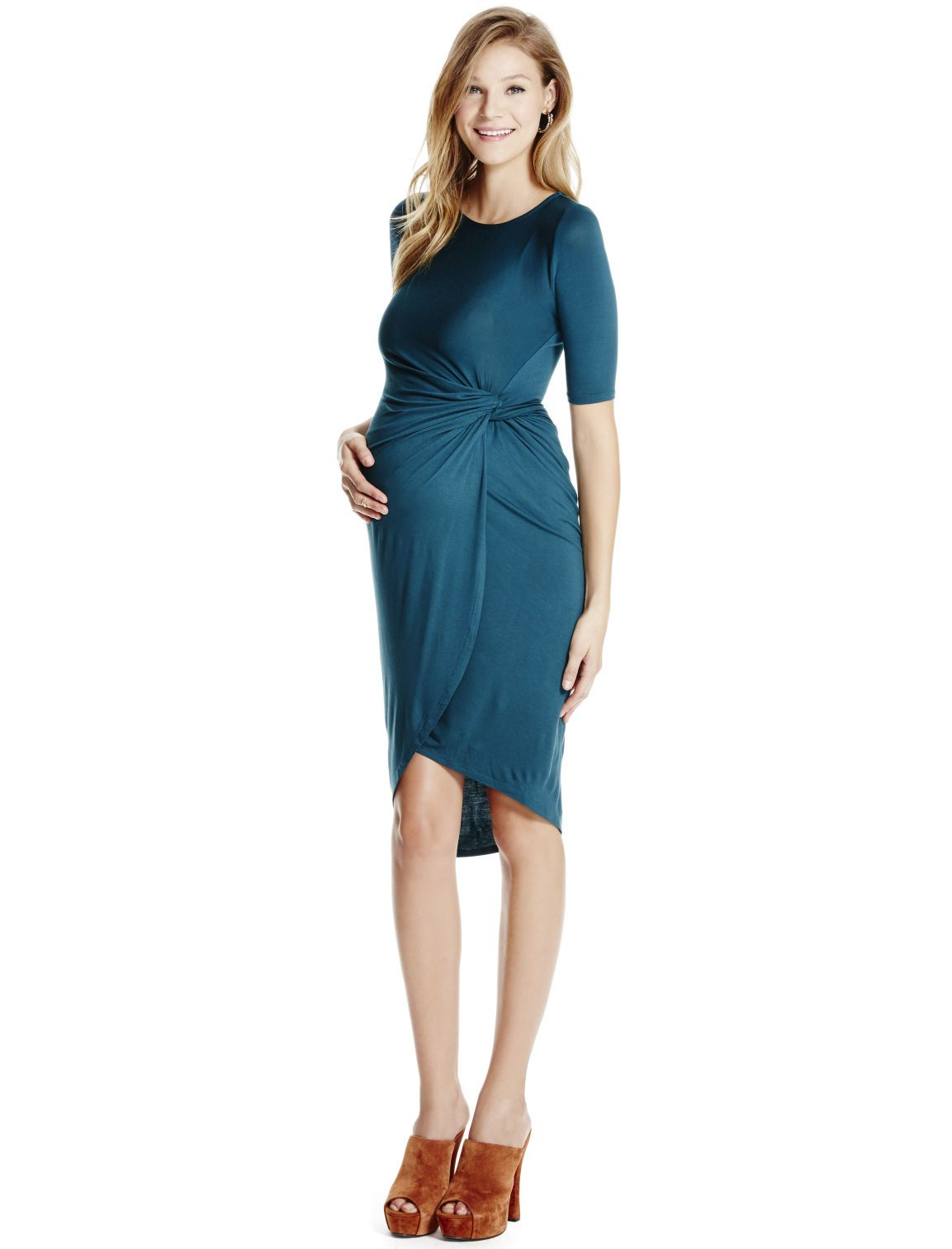 Teal tulip hem 34 sleeve ruched maternity dress by jessica teal tulip hem 34 sleeve ruched maternity dress by jessica simpson available ombrellifo Image collections