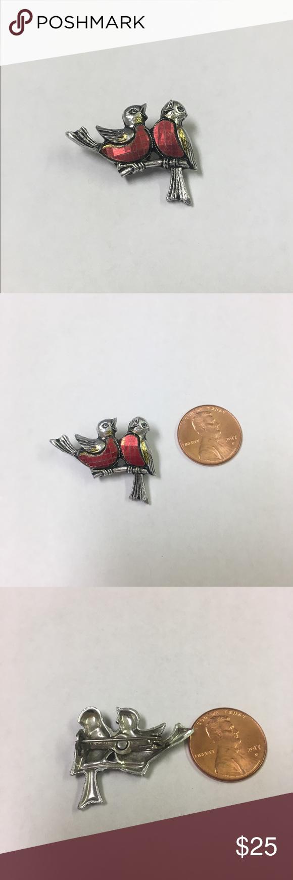 Vintage small red birds made in Germany brooch Light