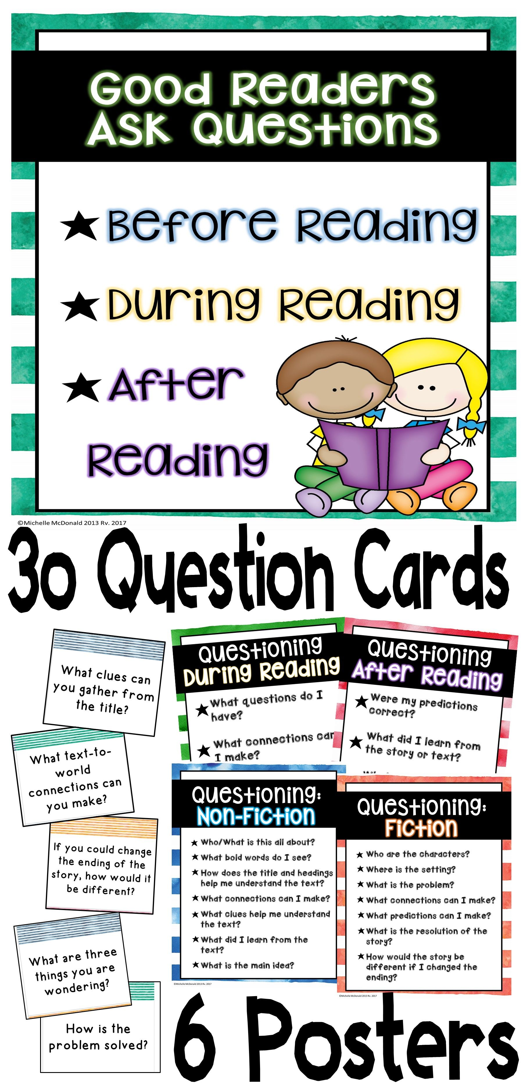 Ccss Aligned Asking Questions During Reading 30 Question