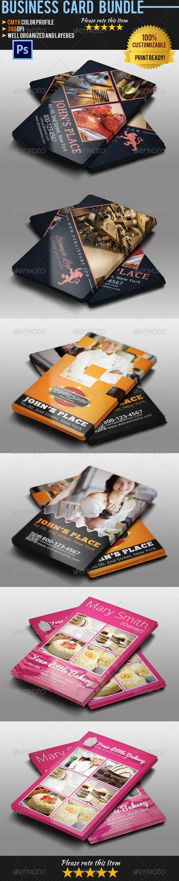 Restaurant business card bundle business cards card templates and restaurant business card template bundle psd download here httpgraphicriveritemrestaurant business card bundle5189087srank99refyinkira reheart Image collections