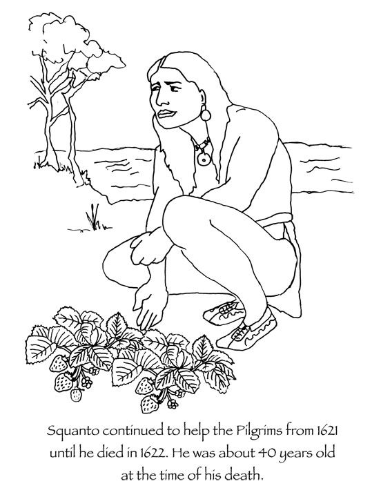Squanto thanksgiving coloring page squanto continued to for Squanto coloring pages