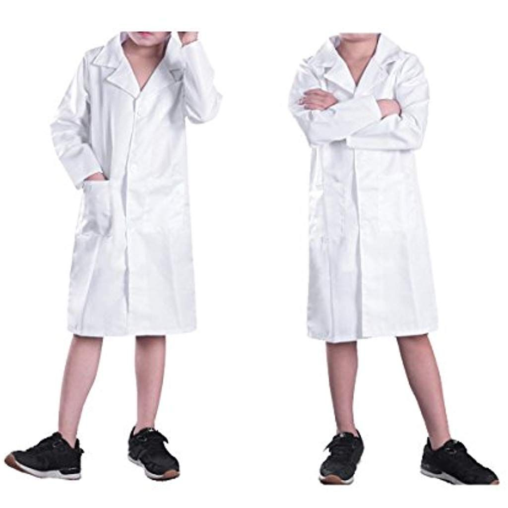 Kids White Coat Lab Doctor Hospital Scientist School Fancy Dress Cosplay Costume