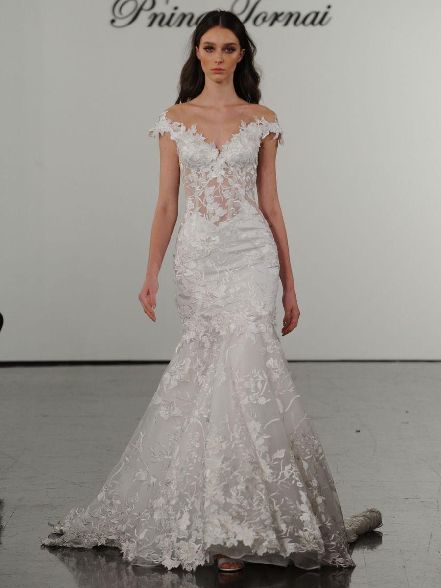 See Pnina Tornai Wedding Dresses From Bridal Fashion Week Pnina Tornai Wedding Dress Wedding Dresses Sheer Wedding Dress