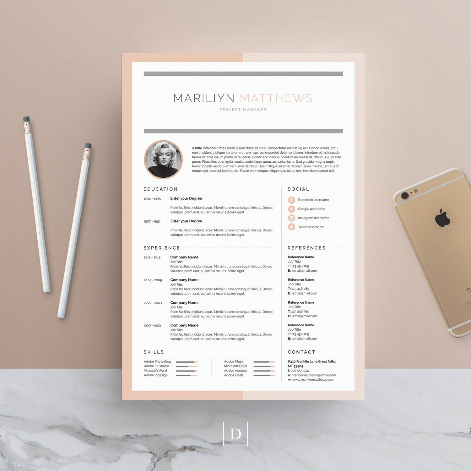 Resume Template 3 page | CV Template + Cover Letter + Business Card ...