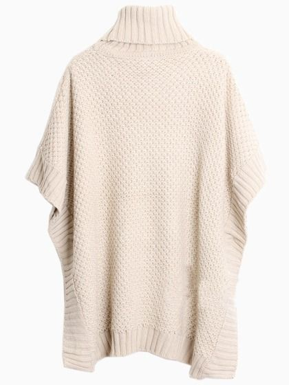 Beige Sleeveless Turtleneck Cape Sweater   Choies