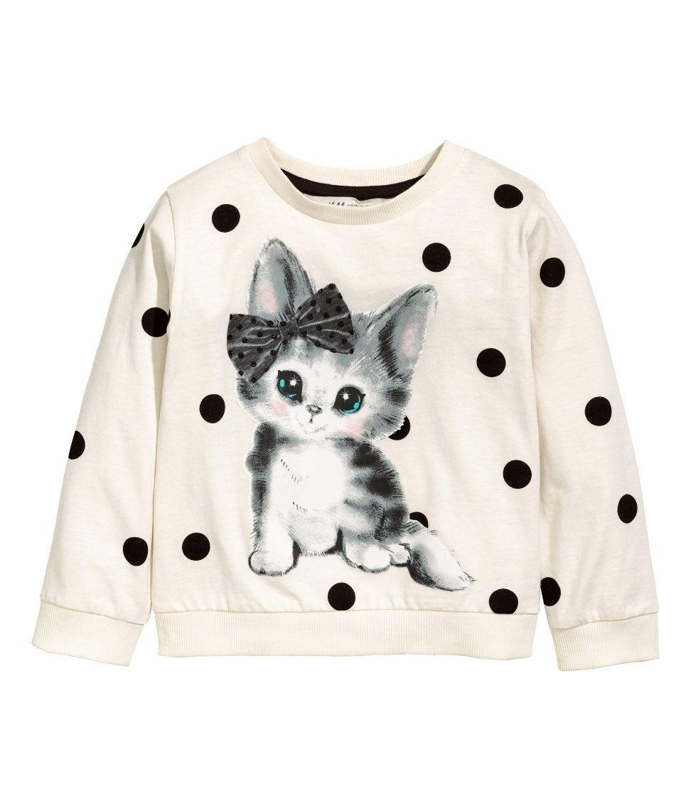 Polka Dot Cat Tee 8 10 Printed Sweatshirts Kids Outfits Girls Kids Outfits