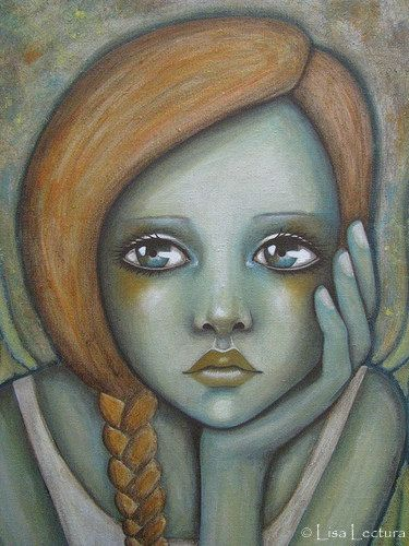 Original Angel Mixed Media Portrait Painting by Lisa Lectura. $325.00, via Etsy.