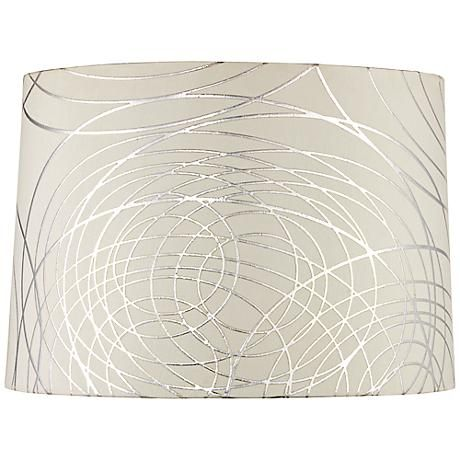 An Off White Drum Lamp Shade With Ultra Modern Silver Graphic Lines
