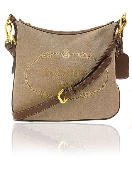 c3551a08a3 PRADA Logo Jacquard Brown Leather Crossbody Bag $695  http://www.boutiqueon57.