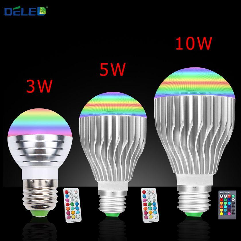 E27 Rgb Led Bulb Lighting Spotlight No Flicker Energy Saving 3w 5w