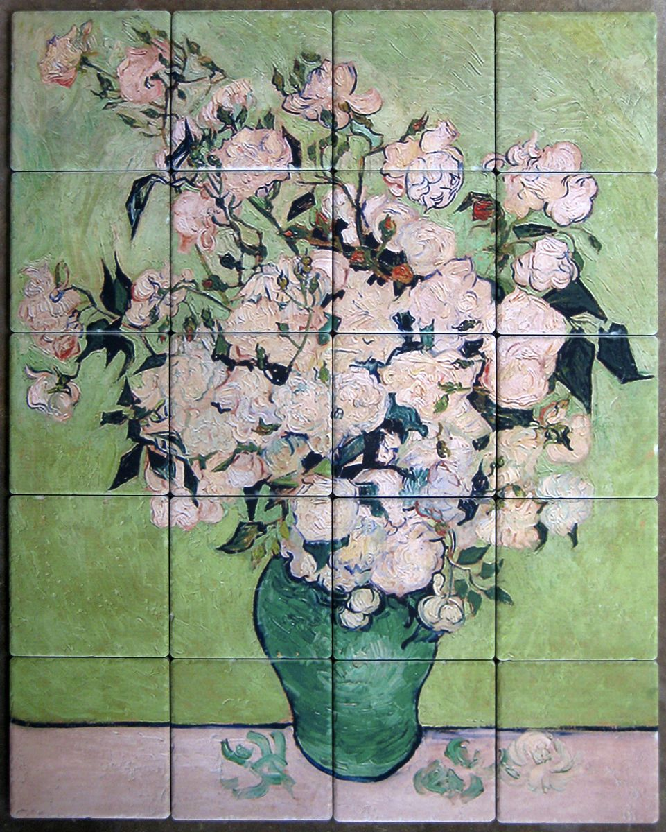 Tile mural of van gogh painting custom printed on tumbled for Custom mural tiles