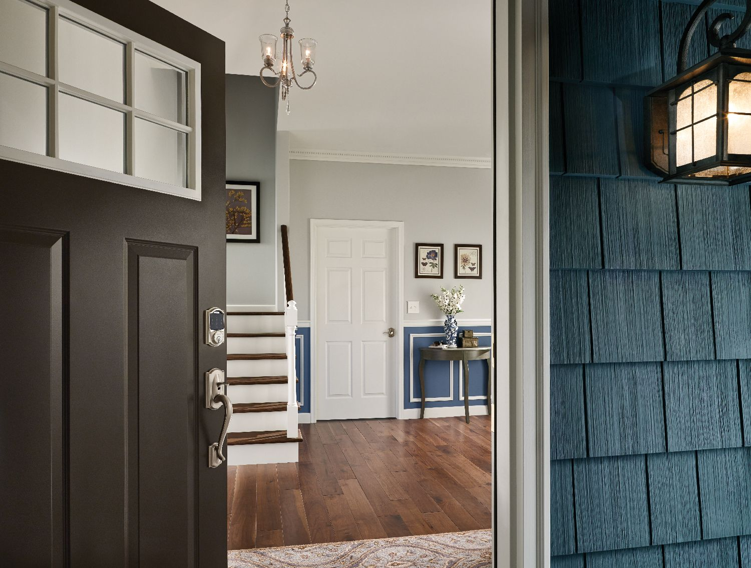 Schage Connect Electronic Lock Complements This Colonial Foyer Beautifully Strong Meets Style Electronic Deadbolt Home Safety Home