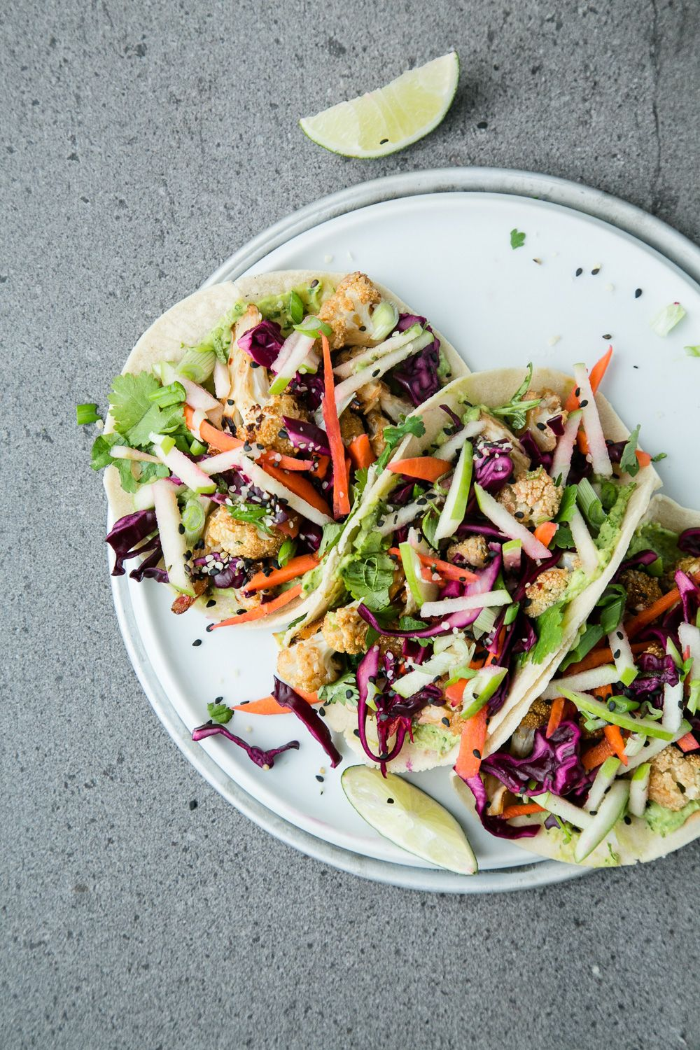 Asian Inspired Miso Cauliflower Crunchy Lime Slaw And