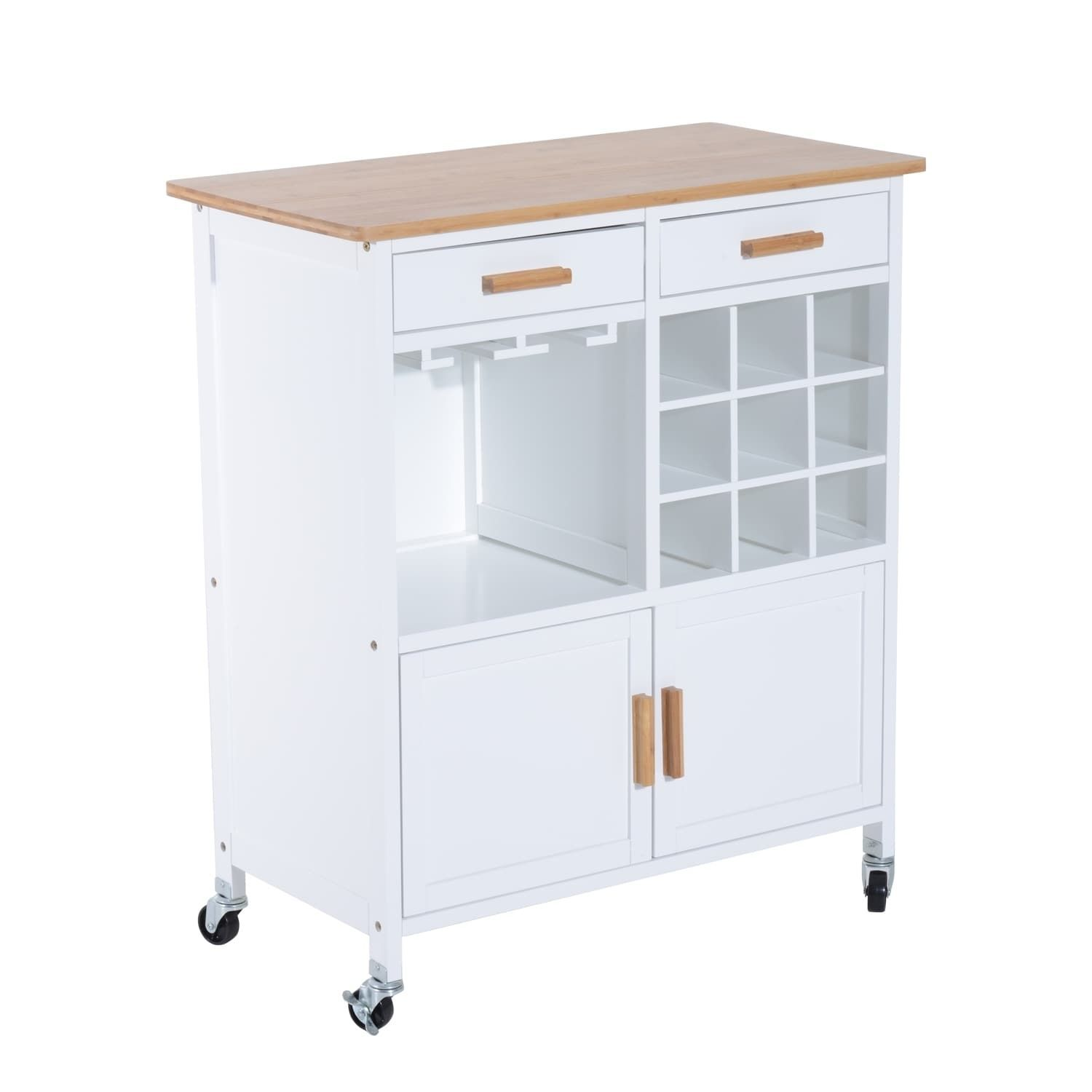 HomCom 35 Rolling Kitchen Trolley Serving Cart with Wine Rack ...