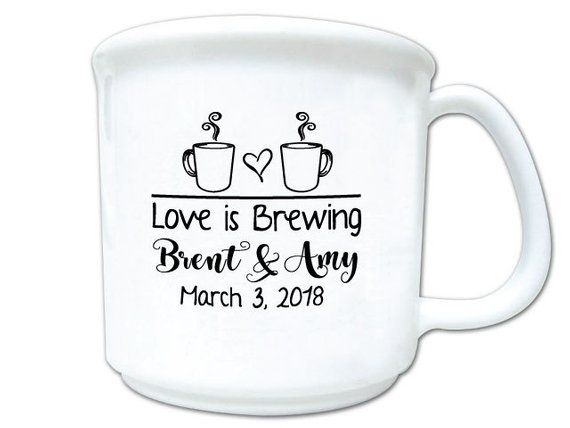 Wedding Favors Love Is Brewing Personalized 8oz Plastic Coffee