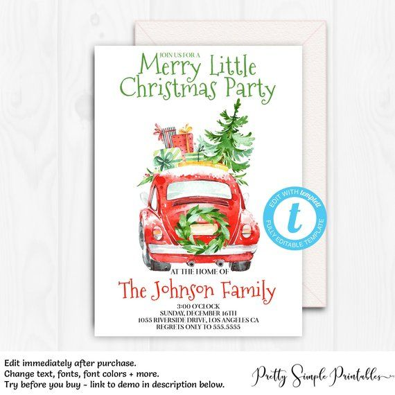 Christmas Party Invitations, Christmas Beetle, EDITABLE Holiday