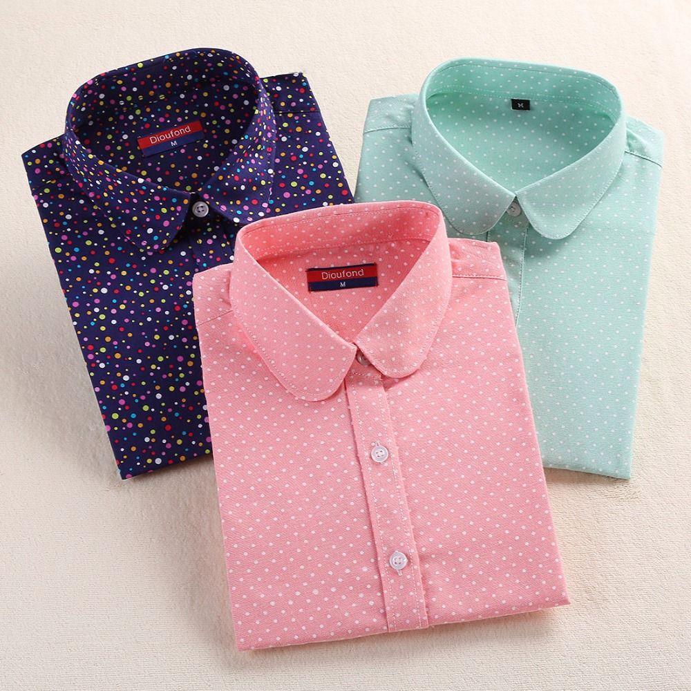Nuovo Rosso di Marca Camicia del Puntino di Polka Dots Camicie Donna Della Boemia Camicie a Manica lunga Polka Dot Bianco Donna Camicie Camicette Blusa Mujer