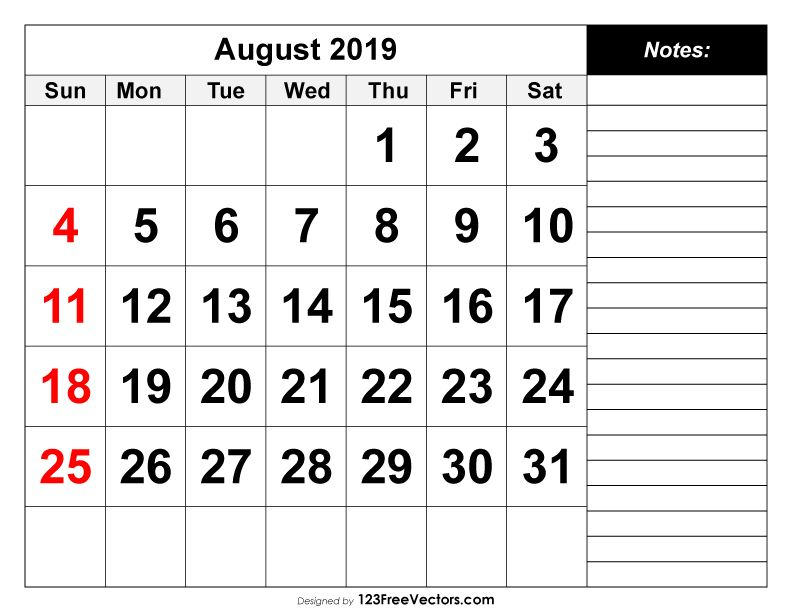 August 2019 Printable Calendar 2020 Calendar Template Printable