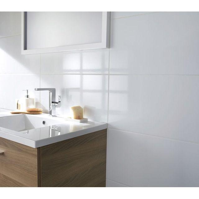 carrelage mural blanc brillant 30 x 60.5 cm casto 19.95 ? /m2 ... - Faience Murale Salle De Bain
