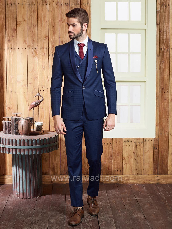 Navy blue terry rayon suit rajwadi menswear mensfashion suit