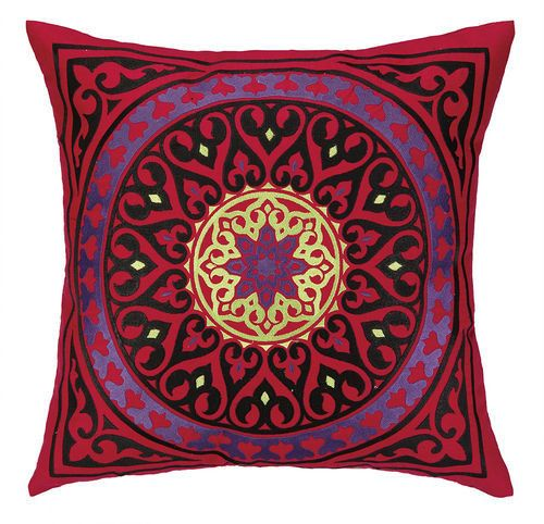 Mora Red Medallion Embroidered Pillow - now available at skyiris.com, $114
