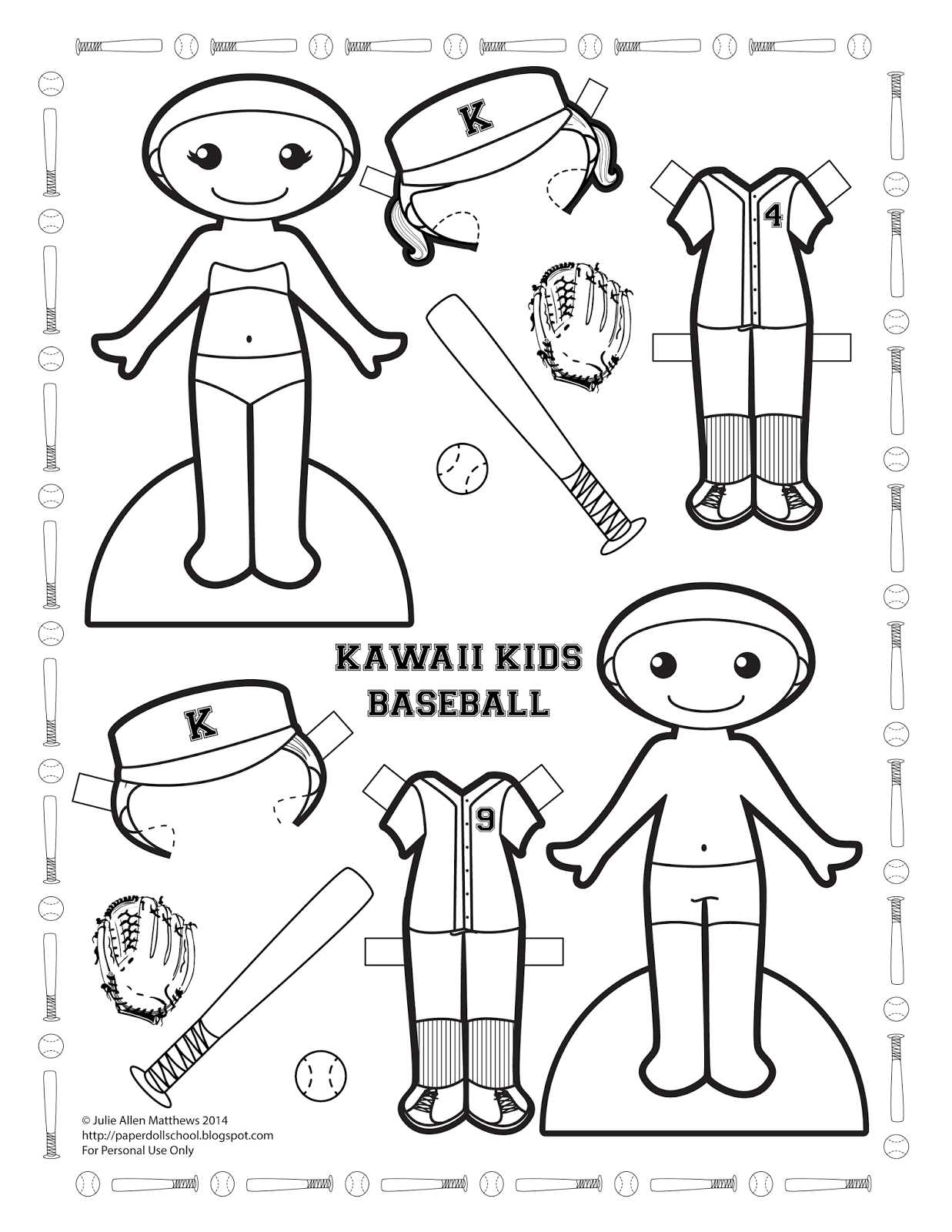Kawaii Kids Baseball By Julie Matthews From Paper Doll