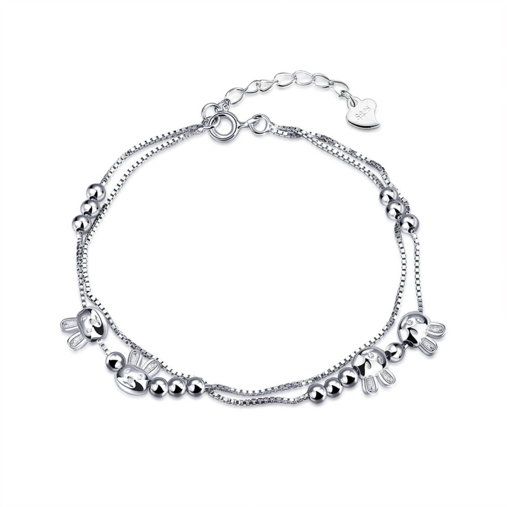 100% 925 Sterling Silver Bracelets For Women Bracelets Femme High Quality Sterling  Silver Jewelry Rabbit