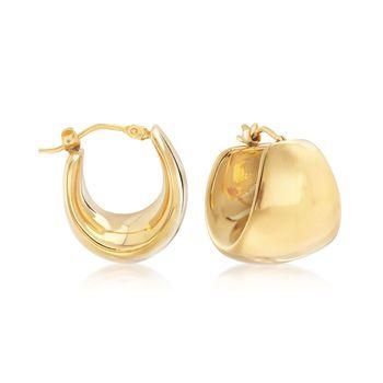 Italian Andiamo 14kt Yellow Gold Wide Hoop Earrings 5 8