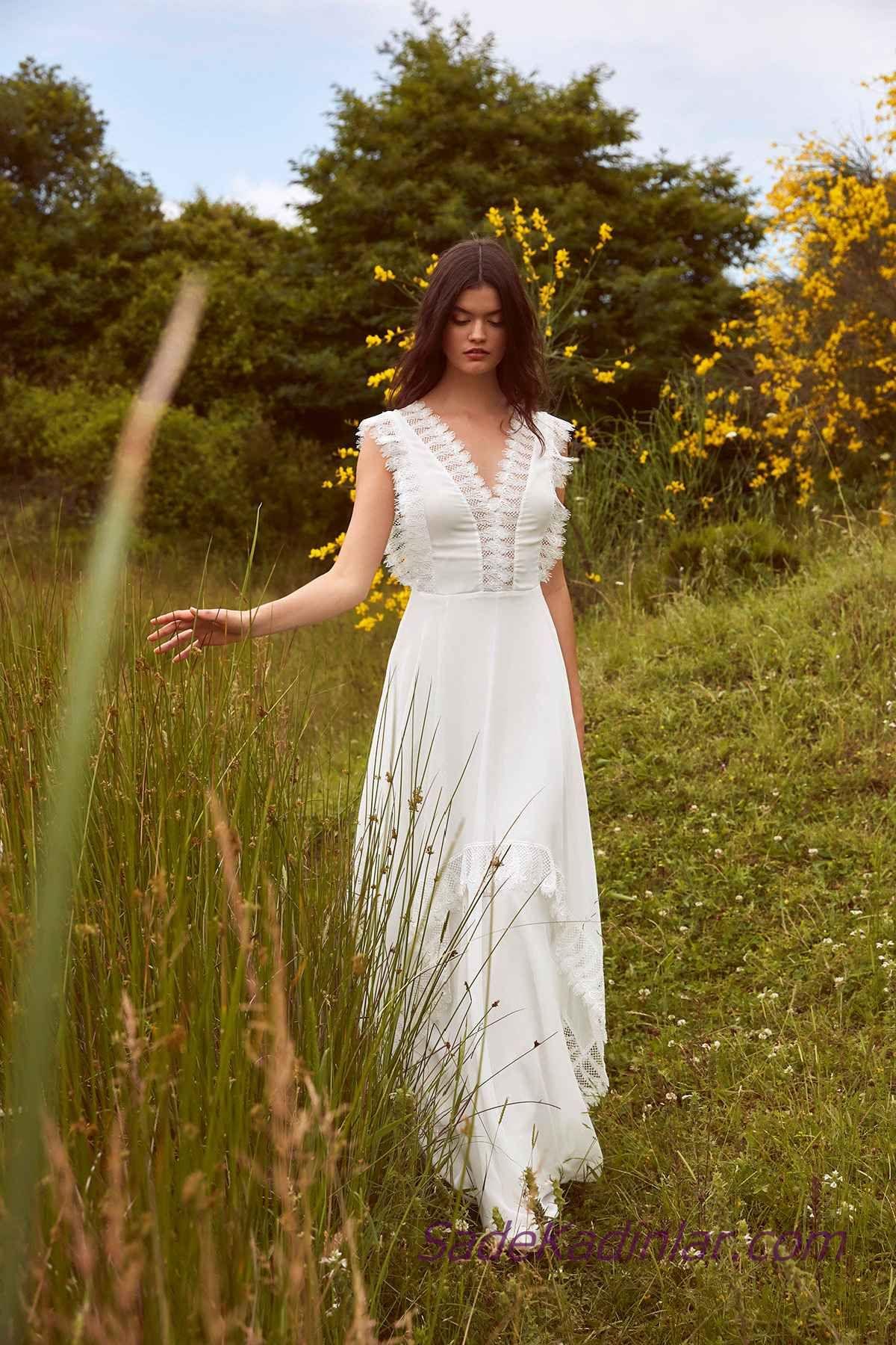 En Guzel 2020 Beyaz Elbise Modelleri Uzun V Yakali Gupur Dantel Detayli Elbise Modelleri Elbise The Dress