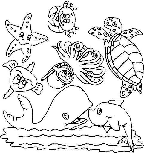 dibujos de animales de mar  Buscar con Google  Dibujos para