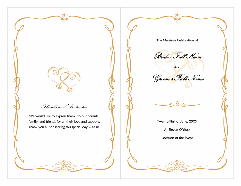 word wedding program free