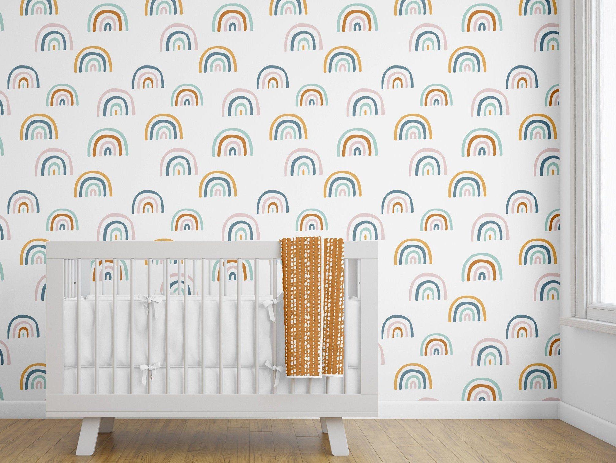 Removable Wallpaper Rainbow Wallpaper Peel And Stick Boho Etsy Rainbow Room Decor Rainbow Wallpaper Boho Wallpaper