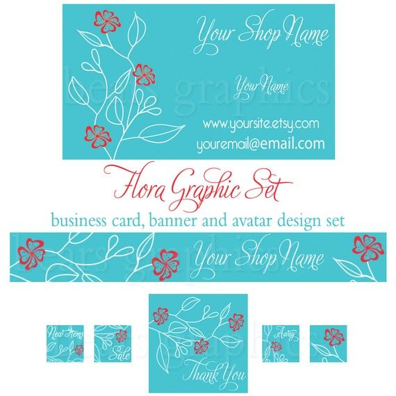 Etsy Banner Business Card And Avatar Set By BearsGraphicDesign 2500