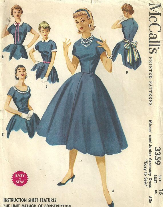 McCalls 3359 Vintage 50s Sewing Pattern Dress by studioGpatterns ...