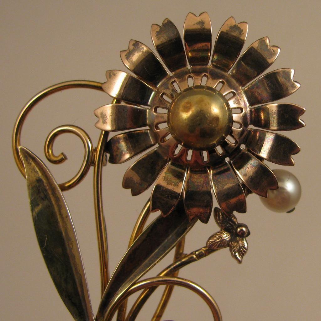 Walter Lampl 1940s Sterling Vermeil Flower w/ Cultured Pearl Brooch